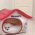 スヌーピー/Snoopy柄 ペットルーム 冬 犬 猫 ピーナッツ漫画 ペット ドームハウス 家型 洗える ふわふわ お洒落 ベッド角型Mサイズ 寝具 かわいい 暖か サイズ36*36*40cm