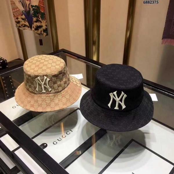 GG NYコラボ ハット帽日焼け止め キャンバスフェドラ ニューヨークヤンキース バケットハット オシャレ カジュアル ファッション