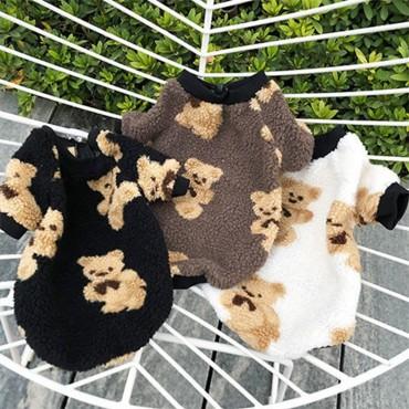 熊かわいい犬猫用 もふもふ ベスト ペットウェア 秋冬 暖かい 防寒  韓国モコモコ  可愛い 熊ブランド ジャンパー  洋服 ドッグウェア小中型犬服 ご主人用 洋服 お揃い