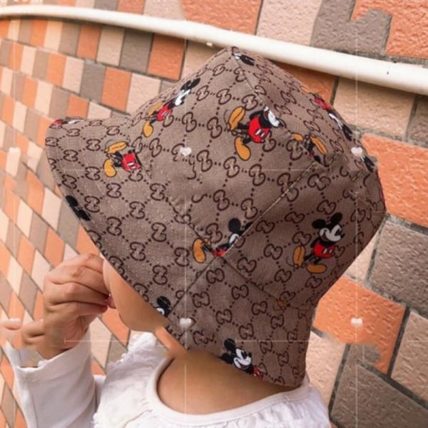 GG 帽子 レディース子供ハット おしゃれ 夏 秋 UVハット 日焼け止め 紫外線 裏地付きハットアウトドア ブランドディズニーコラボ コットン綿ハットセレブ愛用かわいいミッキーマウス定番モノグラムファッションS-2XL