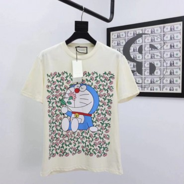 GG&ドラえもん コラボ服 大人 2021新発売 Tシャツ 半袖 夏 綿 丸首 コットン 薄い  かわいい ドラえもん プリント レディース  涼しい おしゃれ 黒 白 ゆったり ファッション メンズ  衣装 かっこいい トップス