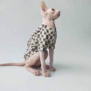 GGブランド 服 猫用 かわいい 無毛猫 洋服 Tシャツ ペット服 子猫スフィンクス おしゃれ ねこ ウェア コットン製 傷防止 夏 薄い服 gg柄 モノグラム 柔らかい猫服 ペット服 お出かけ 内着き お洒落服