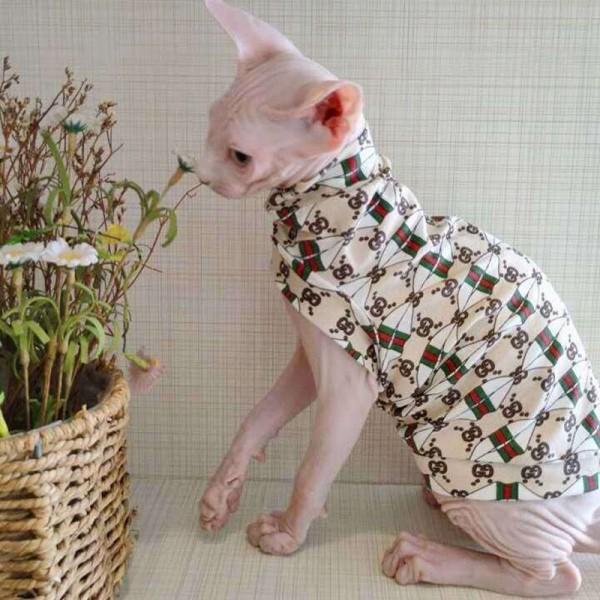 GG 服 猫用 かわいい 無毛猫 洋服ペット服 子猫 おしゃれ ねこ ウェア コットン 傷防止 夏 薄い  袖なし Tシャツ スフィンクス適用 エアコン 散歩