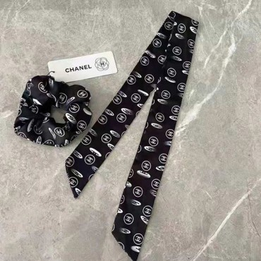 ブランドシャネル ヘアリング Chanelココマーク ヘアバンド レディース 美しいヘアシュシュ シフォン柔らかいスカーフテープ 黒白花柄プリントシンプル ファッション 大人気 かわいい 女子 髪飾り おしゃれヘアアクセサリー