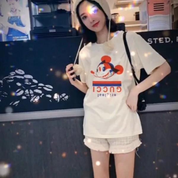 GG&ディズニー 限定服 大人 半袖ミッキーマウス柄 かわいい 薄手 プリント レディース愛用 Tシャツ 100%綿 ショート 快適 メンズ 上着 柔らかい 通気性 トップス お洒落 シンプル型 ファッション カップル適応