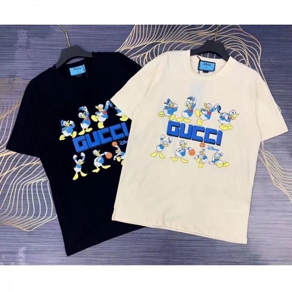 GG&ディズニー  連名限定服 大人 かわいい ドナルドダック柄 GG柄 ヒット 夏対策Tシャツ レディース 人気 メンズ ショートお洒落 100%綿製 薄い 涼しい上着 快適 柔らかい ふわふわ S-5XL