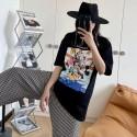 ggブランド服 新作Tシャツ半袖 女の子向け 流行 シックトップス 漫画 スタイル かわいい ディズニー家族 ロングtシャツ カジュアル 綿製 快適 涼しい 通気性 丸首 コットン レディース体型カバー安い