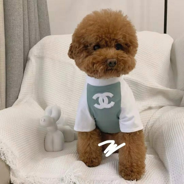 CHANEL ペット服 薄手Tシャツ 柔らかい スフィンクス コットン ペット用 ドッグウェア シャネル ブランド 白緑色 小型ペット カッコイイ 個性的 愛犬愛猫グッズ コピー