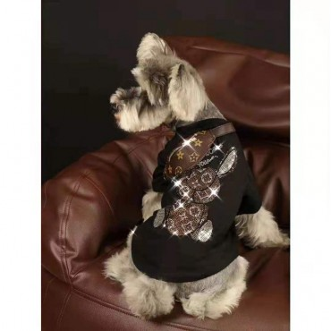 LV ペット服 薄手Tシャツ 柔らかい きらきら スフィンクス コットン ペット用 個性ウサギ柄 ドッグウェア ルイヴィトン ブランド ホワイト 黒色 小型ペット カッコイイ 個性的 愛犬愛猫グッズ コピー