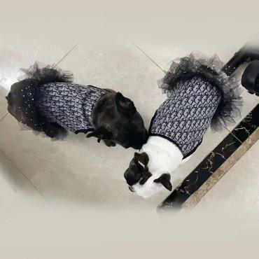 ディオールDior ブランド ペット服 犬スカートチョッキ ペットウェア かわいいベストレースワンピース洋服 薄手 通気性 猫服 犬ドレス 綺麗 柔らかい 猫犬対応 お出かけ