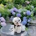 シャネルブランド ペット服 新作 犬服 ワンピースドッグスカート蝶結び付きおしゃれ かわいいスカート Chanelツバキ飾りヘアピン付きリボン結び美しい綺麗ペットウェア猫服 柔らかい 薄い夏対策 通気性 肌触り良い