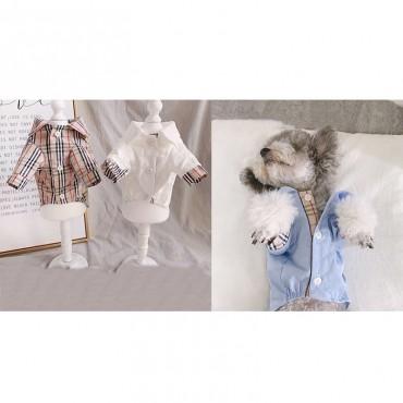 ブランド バーバリー ペット服 猫犬 tシャツ 長袖ドッグウェア  burberry 洋服 カッコイイ犬服 オシャレ 定番 チェック かわいい 猫服 トップス ボタン付き 着やすい ポケット付き ペットウェア
