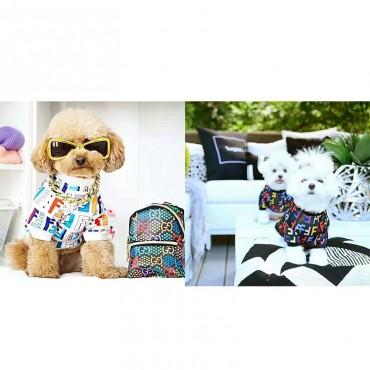 フェンディ ペット服 猫犬服 オシャレ パーカー カラフル ブランド ロゴ プリント 入れ fendi 犬服 かわいい ドッグウェア 猫Tシャツ 部屋着 お出かけ 通気性 犬猫用 着脱やすい