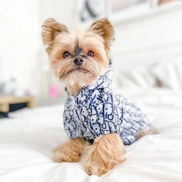 ブランド ディオール 犬服 ペットウェア 犬パーカー かわいい レインコート ポンチョ ドッグウェア 防水 帽子付き 暖かい 防寒ジャケット 猫 服 ペット用品 洋服