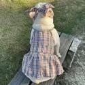 バーバリーBurberry ペット服とヘアバンド 2点セット 犬用  お洒落 ストレス ペットウェア 洋服ブランド チェック柄 経典 犬猫対応 蝶結びヘアバンド かわいい 綺麗 柔らかい ファッションワンピース