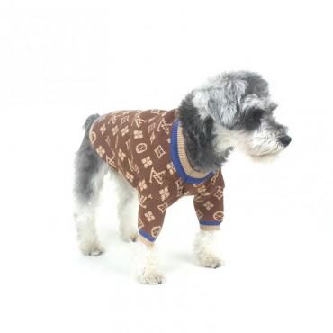 かわいい ペット服 ルイヴィトン 犬の秋冬セーター 暖かい 厚手 ハイブランド lv 犬服 保温 ニット 両足 暖かい 伸縮性 着こなしやすい 経典柄 ファッション 高品質 ドッグウェア 小中大型ペット S-XXL