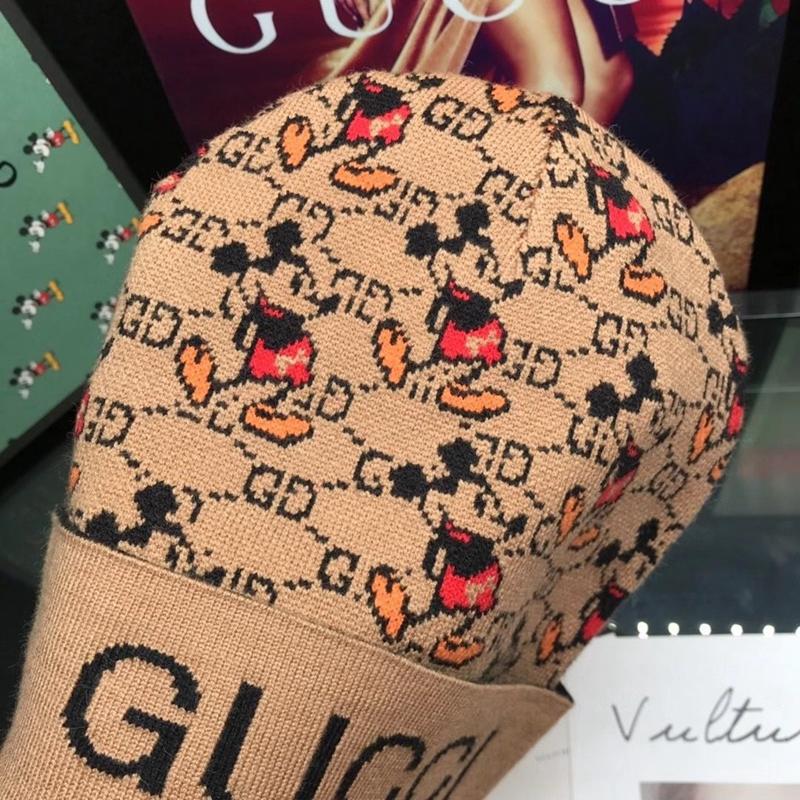 帽子 ニット 経典ロゴ ミッキー付き ディズニー x GG コラボ