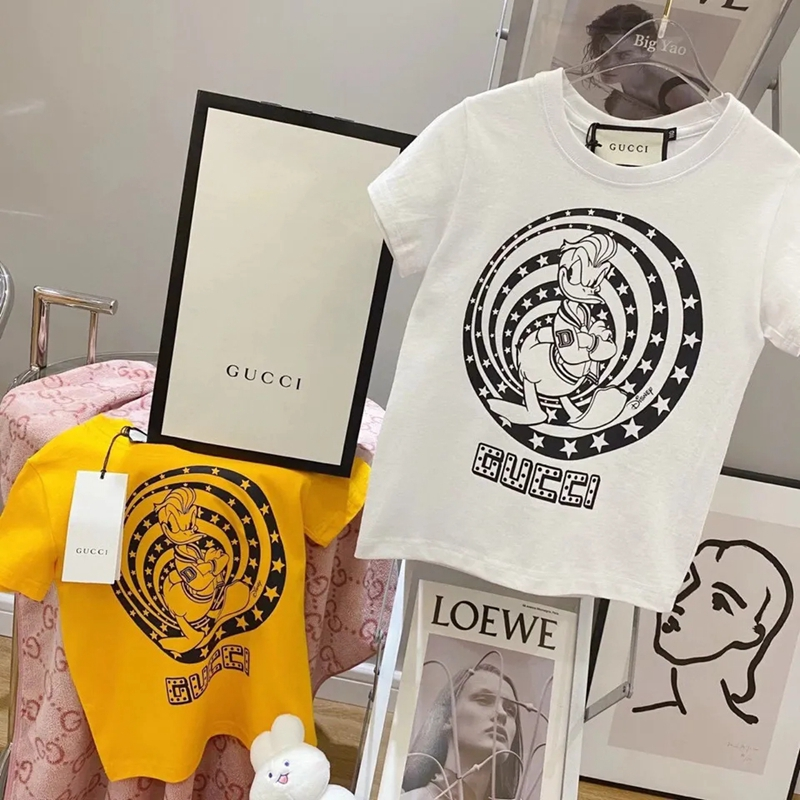 gg ディズニーコラボ グッチ 子供Tシャツ 半袖 丸首 綿製t-shirt ドナルド キッズ服 可愛い シンプル モノグラム 男女通用