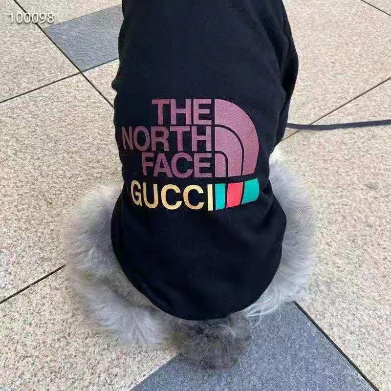 ザノースフェイスThe North FaceグッチGucciコンボ ペット服 ジャケット 帽子付き パーカー ブランド おしゃれ 綿製コート 犬服 パロディ