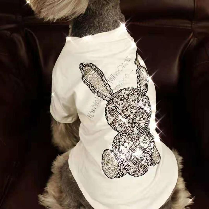 lv ルイヴィトン ブランド ペット服 Tシャツ 白黒色 犬の洋服 キラキラ兎 綿製パーカー コピー 春夏