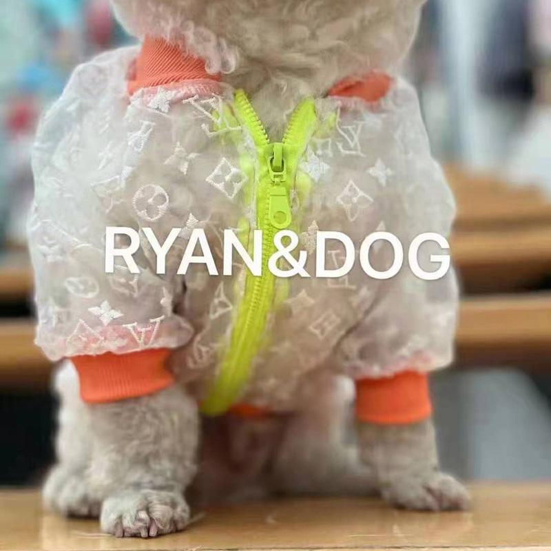 ヴィトンLVブランド 犬服 レインコート シフォン製 夏 日焼け防止 パーカー 犬のポンチョ ジャケット服