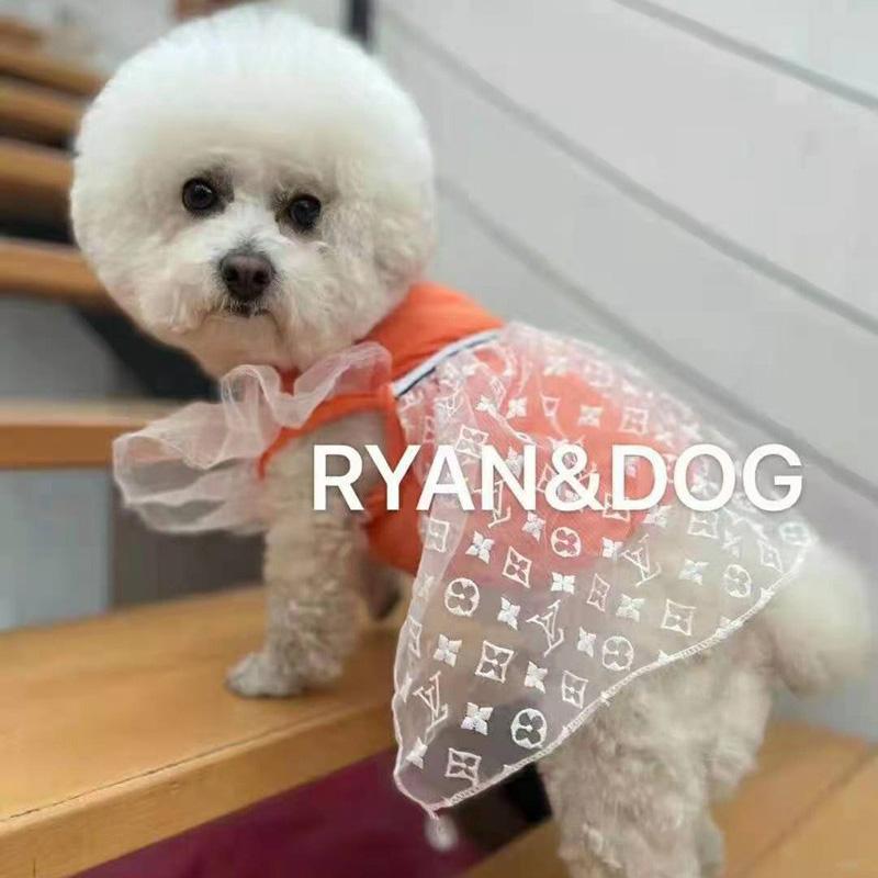 ルイヴィトン ペット服 オーバーオール ブランド 紡糸モノグラム シフォン ワンピース 可愛い LV コンドン プードル 犬ねこ服