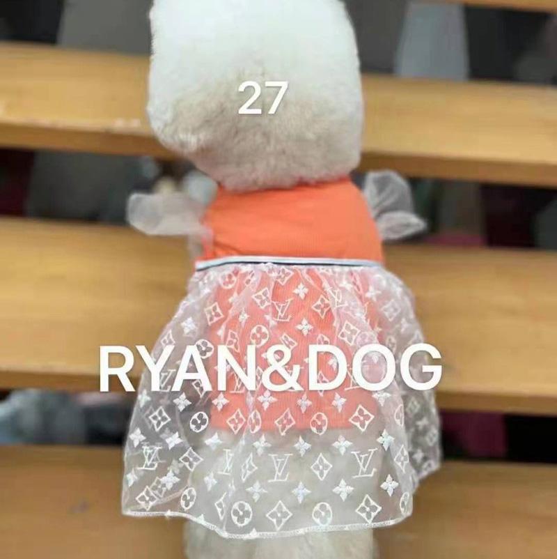 ルイヴィトン lv ブランド 紡績ワンピース 愛犬愛猫服  オレンジ色 かわいい 綿 オーバーオール