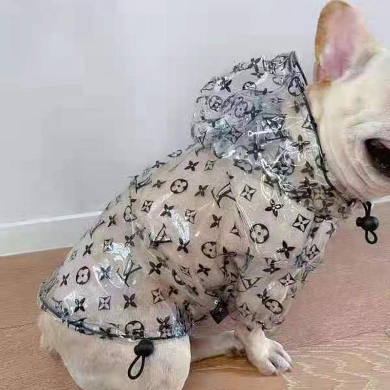 ブランドルイヴィトン犬服レインコート透明仕様防水