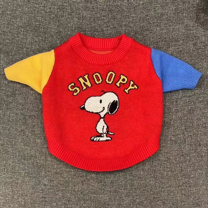 Snoopy暖かい猫服犬ニット服秋冬向け防寒伸縮性おしゃれ